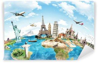 Carta da Parati in Vinile Viaggia per il concetto di monumento mondiale
