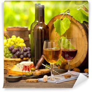 Carta da Parati in Vinile Vino e formaggio