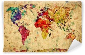 Carta da Parati in Vinile Vintage mappa del mondo. Vernice colorata, acquerello su carta grunge