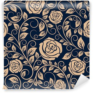 Carta da Parati in Vinile Vintage rose fiori seamless pattern