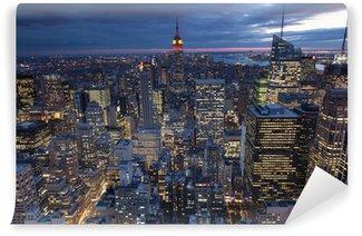 Carta da Parati in Vinile Vista di sera di New York, Stati Uniti d'America
