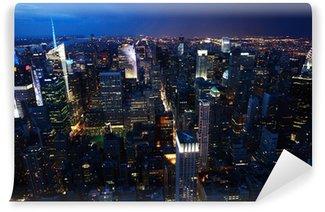 Carta da Parati in Vinile Vista notturna di Manhattan, NewYork Città
