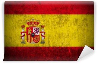 Carta da Parati in Vinile Weathered bandiera della Spagna, con texture di tessuto