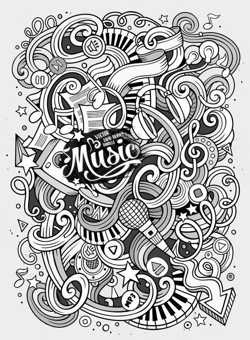 Naklejka na Drzwi Cartoon ręcznie rysowane Doodles ilustracji Musical - Hobby i rozrywka