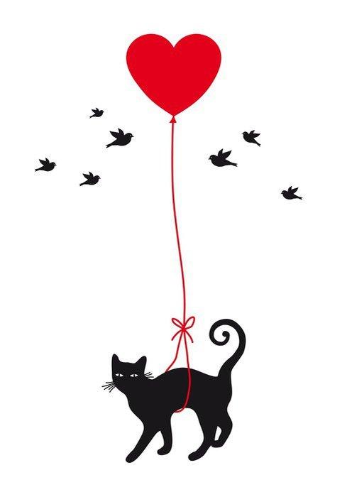 cat with heart balloon, vector