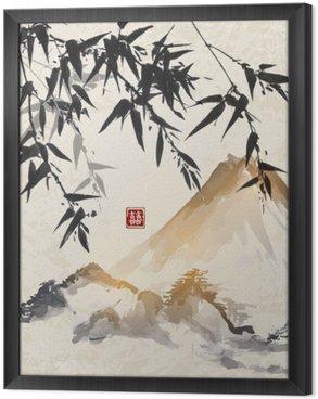 Çerçeveli Tuval Bambu ve dağlar. Geleneksel Japon mürekkep boyama Sumi-e. çift şans - hiyeroglif içerir.