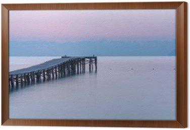 Çerçeveli Tuval Bir iskele ile sahilde gün batımı