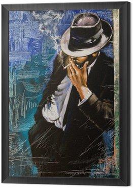 Çerçeveli Tuval Bir sigara ile adamın portresi