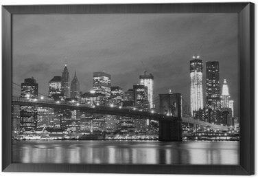 Çerçeveli Tuval Brooklyn Köprüsü ve Gece Manhattan Skyline, New York