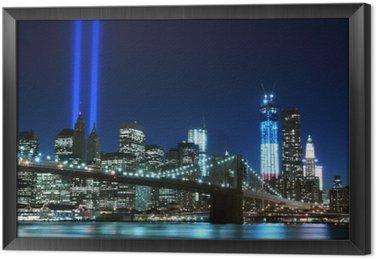 Çerçeveli Tuval Brooklyn Köprüsü ve Işık Kulesi, New York