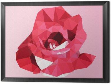 Çerçeveli Tuval Çokgen kırmızı gül. poli düşük geometrik üçgen çiçek vektör