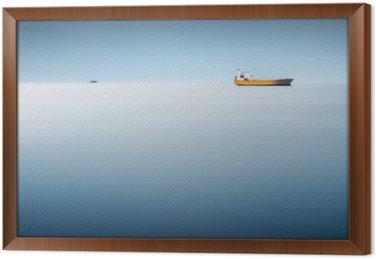 Çerçeveli Tuval Denizde kargo gemisi - uzun pozlama soyut bir arka plan gibi deniz var