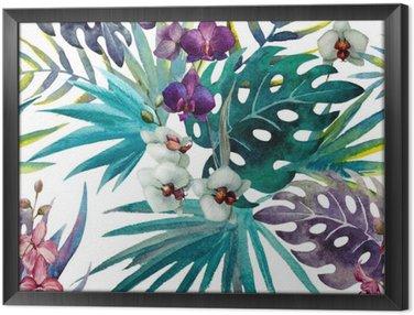 Çerçeveli Tuval Desen orkide ebegümeci suluboya tropik yaprakları