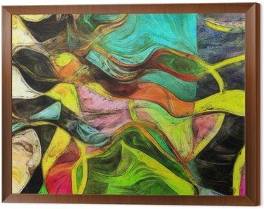 Çerçeveli Tuval Dönen Şekiller, Renk ve Çizgiler