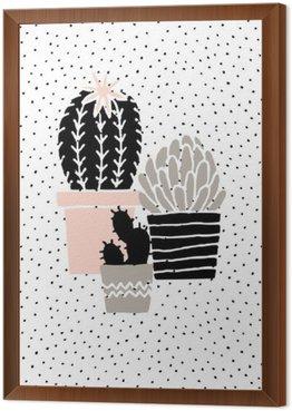 Çerçeveli Tuval El Drawn Cactus Poster