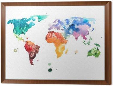 Çerçeveli Tuval Elle çizilmiş suluboya dünya haritası suluboya illüstrasyon.