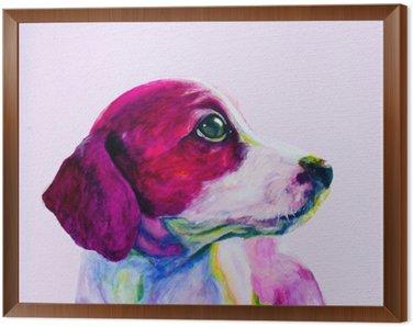 Çerçeveli Tuval Genç bir köpek Buddy portresi, neon renklerde köpek. Looking ve ilgi için özlem