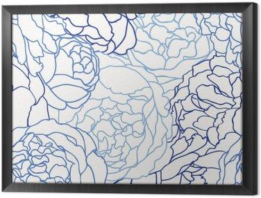 Çerçeveli Tuval Gül ile Seamless pattern