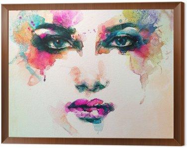 Çerçeveli Tuval Kadın portresi .abstract suluboya .fashion arka plan