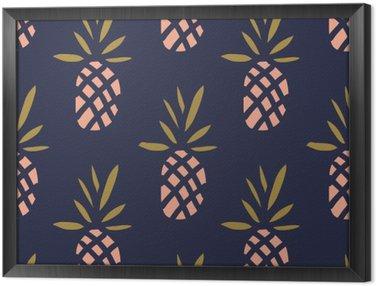 Çerçeveli Tuval Koyu zemin üzerine ananas. tropikal meyve Vektör sorunsuz desen.