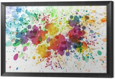 Çerçeveli Tuval Özet renkli sıçrama arka plan raster versiyonu