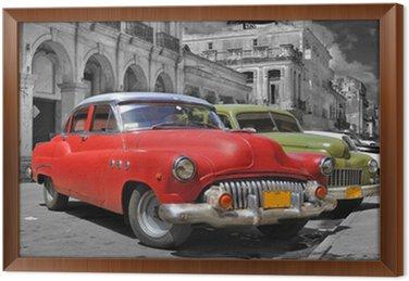 Çerçeveli Tuval Renkli Havana arabalar panorama