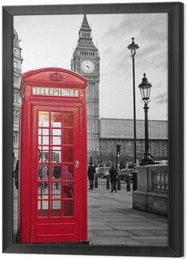 Çerçeveli Tuval Siyah ve beyaz Big Ben ile Londra'da kırmızı telefon kulübesi