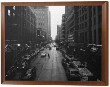 Çerçeveli Tuval Siyah ve Beyaz Chicago Sokaklar