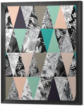 Çerçeveli Tuval Tropikal patchwork seamless background