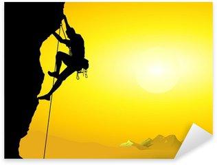 Çıkartması Pixerstick Bir einer Felswand Bergsteiger