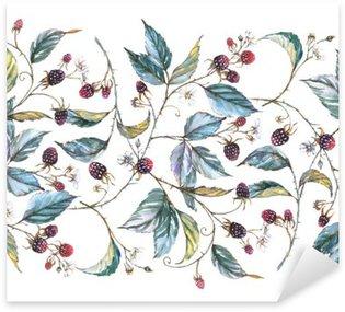 Çıkartması Böğürtlen dalları, yaprakları ve meyveleri: Doğal motifleri ile suluboya sorunsuz süsleme elle çizilmiş. Tekrarlanan dekoratif illüstrasyon, çilek ve yaprakları ile sınır