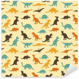 Çıkartması Dinozor vektör kümesi siluetleri, retro desen arka plan