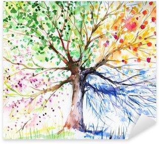 Çıkartması Dört mevsim ağaç