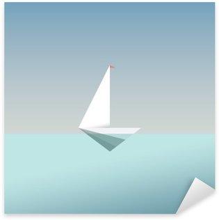 Çıkartması Pixerstick Modern düşük poli tarzda yat simgesi simgesi. Yaz tatili ya da seyahat etmek arka plan. özgürlük ve başarı için iş metafor.