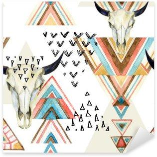 Çıkartması Özet suluboya hayvan kafatası ve geometrik süsleme seamless pattern.