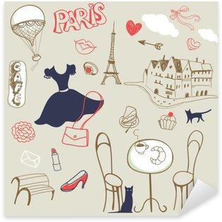 Çıkartması Pixerstick Paris el kümesi çizilmiş semboller