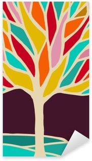 Çıkartması Renkli dalları ile soyut ağaç illüstrasyon