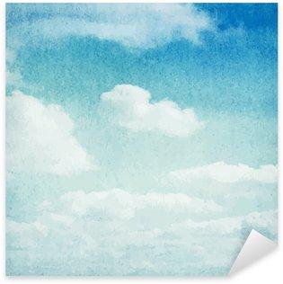 Çıkartması Suluboya bulutlar ve gökyüzü arka plan