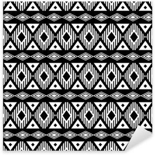 Çıkartması Pixerstick Trendy sorunsuz siyah ve beyaz desen. etnik, modern bohem tarzı, geometrik. giysi, sarma, arka plan için moda desen. Vektör.