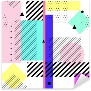 Çıkartması Pixerstick Vektör geometrik elemanlar memphis kartları. moda 80'lerin retro tarzı desen. Modern soyut tasarım afiş, kapak, kart.