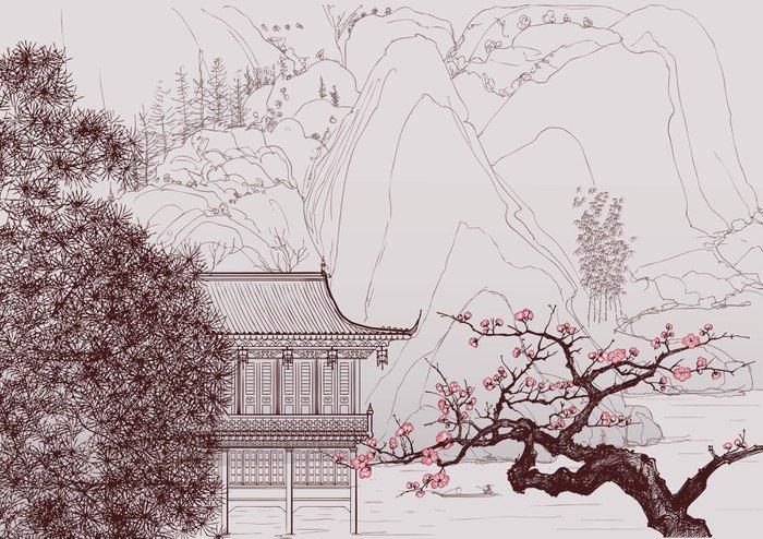 Vinylová Fototapeta Čínské krajiny - Vinylová Fototapeta