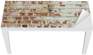 Cobertura para Mesa e Escrivaninha Background of old vintage dirty brick wall with peeling plaster