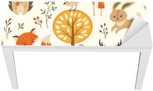 Cobertura para Mesa e Escrivaninha Floresta do outono padrão sem emenda com animais bonitos