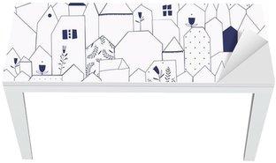 Cobertura para Mesa e Escrivaninha Seamless pattern. Figure cities in vintage style.