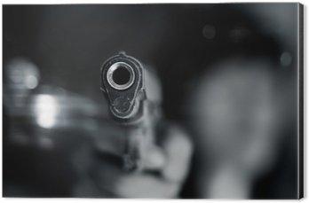 Cuadro en Dibond Blanco y negro, la mujer que señala el arma en la mano de edad