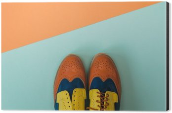 Cuadro en Dibond Conjunto de moda para establecer planos: zapatos de época de color en el fondo de color. Vista superior.