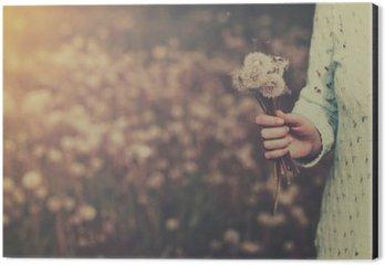 Cuadro en Dibond Mujer con el manojo de flores de diente de león en la mano