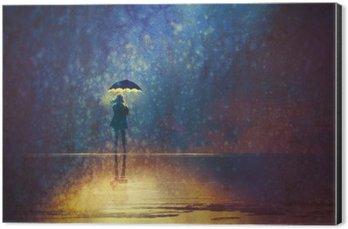 Cuadro en Dibond Mujer solitaria bajo las luces de paraguas en la pintura oscura, digital