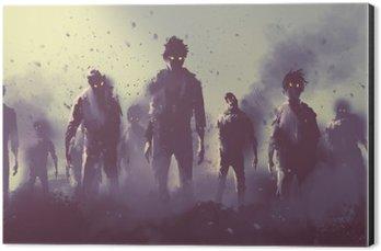 Cuadro en Dibond Multitud de zombies caminando por la noche, el concepto de Halloween, pintura ilustración