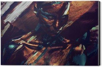 Cuadro en Dibond Retrato de mujer en las pinturas de colores oscuros